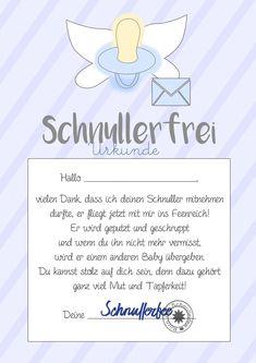 Schnullerfee Geschenk Brief zum Ausdrucken, Druckvorlage Schnullerfrei