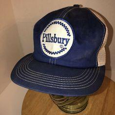 afd8914f04922 Vintage 80s PILLSBURY USA K-Brand Blue White Trucker Hat Cap Snapback Logo  PATCH