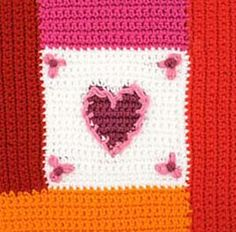 Ravelry: Heart Squares Afghan, Square 3: Log Cabin Heart pattern by Kathy North