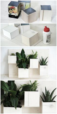 Getränkekartons-Upcycling: vertikaler Garten/ Pflanzenbild mit Sperrholz und Pflanzen (z.B. Sukkulenten)