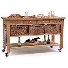 Eddingtons Four Drawer Beech Wooden Kitchen Trolley | Robert Dyas