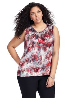 Printed Top In Red & Ivory