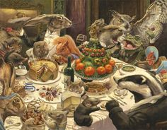 "oldpainting: "" pagewoman: "" Feast by Chris Dunn "" Chris Dunn is a freelance Illustrator and Fine Artist based in Calne, Wiltshire, specialising in book illustration and fine art. Art And Illustration, Chris Dunn, Susan Wheeler, Fantasy Kunst, Art Base, All Nature, Woodland Creatures, Fantastic Art, Oeuvre D'art"