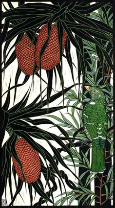 Rachel Newling, Red Panda & Catbird, hand coloured linocut