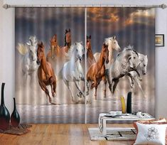 Buy Horses Run Blockout Photo Curtain Print Curtains Drapes Fabric Window US at online store 3d Curtains, Printed Curtains, Europe Photos, Horse Print, Draped Fabric, Printing On Fabric, Horses, Wallpaper, Prints