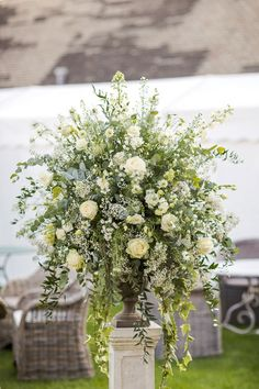 Wedding Flower Arrangements Rustic Soho Farmhouse Ceremony with PapaKata Sperry Tent Greenery filled Reception Flower Wall Wedding, Altar Flowers, Church Flower Arrangements, Wedding Reception Flowers, Church Wedding Decorations, Wedding Altars, Church Flowers, Marquee Wedding, Wedding Table Centerpieces