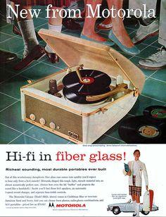 Hi-fi in fiber glass! 1957 Motorola portable record player ad
