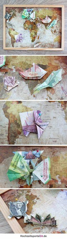 Ein tolles Reisegeschenk für Brautpaare, die gerne weltweit unterwegs sind. #hochzeitsgeschenk #reisen #geldgeschenk