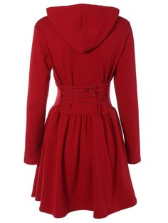 Casual Criss-Cross Hooded Long Sleeve Dress in Wine Red | Sammydress.com