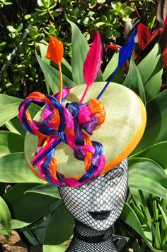 Silk Abaca braid with arrow feathers  Bright colors are good!