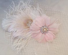 White Peacock Feather Pale Pink Fascinator, Bridal Hair Accessory, Champagne, Pearl Swarovski Crystal, Head Piece, Flower