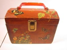 Vintage Butterfly Decoupage Box Purse With Lucite Handle Wood Handbag Hinged #Handmade #TotesShoppers #butterflypurse