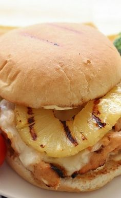 *****Hawaiian Grilled Chicken Sandwiches (served on pretzel rolls with honey mustard)