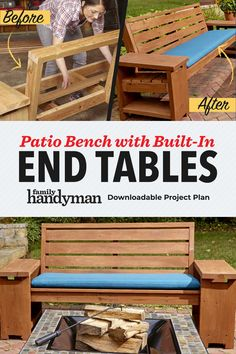 How to Build a Patio Bench with Built-In End Tables Dyi Patio Ideas, Diy Patio, Outdoor Ideas, Backyard Ideas, Diy Ideas, Build A Bench, Wooden Bench Plans, Patio Bench, Diy Bench