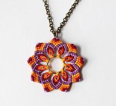 Hippie Flower Necklace Mandala Macrame violet от KnottedWorld