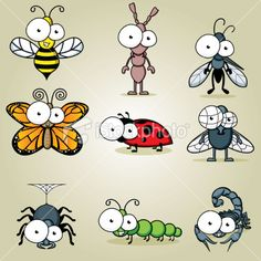 Googly Eyed Insects Royalty Free Stock Vector Art Illustration
