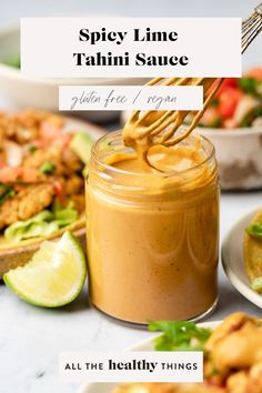 This spicy lime tahini sauce is so creamy, delicious, and completely vegan. It makes a great dip for veggies, a sauce for tacos, a dressing for salads, and a yummy sauce for bowls. #yummy #sauce #spicy #lime #tahini Homemade Honey Mustard, Honey Mustard Sauce, Good Healthy Recipes, Vegan Recipes Easy, Asian Recipes, Free Recipes, Healthy Food, Honey Chipotle Chicken, Salad Sauce