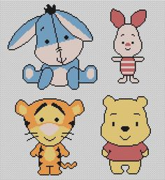 Winnie the Pooh e i suoi amici, schemi a punto croce / Winnie the Pooh and his friends, cross stitch patterns Beaded Cross Stitch, Crochet Cross, Cross Stitch Baby, Cross Stitch Charts, Cross Stitch Designs, Cross Stitch Embroidery, Embroidery Patterns, Cross Stitch Patterns, Loom Patterns