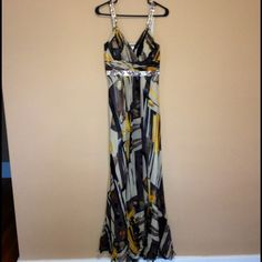 """REDUCED Nina Austen from Nordstrom Gown W/ sequins Gorgeous Nina Austen Gown from Nordstrom. Yellow, tan, black, beige, black, gold, pewter... Sequins on straps and below bust. Side zip with hook closure. Size Small. Full length & I'm 5'8 and wore 4"""" heels. Excellent condition worn once to a wedding .100% silk with 100% polyester lining. Nina Austen  Dresses"""