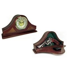"""Mantel Clock Safe for Guns and Valuables by Playstation. $49.95. Beautiful wooden clock for your fireplace mantle or desk. Hide your pistol in plain site. The front opens up with plenty of room to fit most medium bodied pistols. No, it probably wont fit a pistol/scope setup. It measures about 13"""" on the inside in width and about 6 1/2"""" at the tallest point. 2 1/4"""" depth. Pictured is my personal 9mm and it fits easily. My 357 mag 6"""" barrel is too big though. Note the cloc..."""