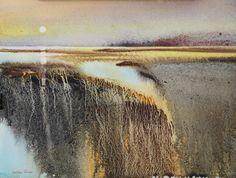 by Svetlana Orinko Landscape Artwork, Watercolor Landscape, Abstract Watercolor, Watercolor And Ink, Abstract Landscape, Seascape Paintings, Watercolor Paintings, Watercolours, Moonlight Painting