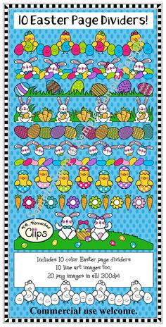 10 Easter Page Dividers - color and line art $  http://www.teacherspayteachers.com/Product/10-Easter-Page-Dividers-color-and-line-art-1176929