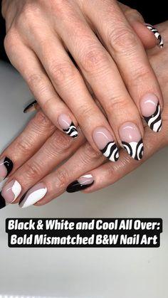 Cute Acrylic Nail Designs, Best Acrylic Nails, French Nail Designs, White French Nails, Black White Nails, Black And White Nail Designs, Neutral Nails, Get Nails, Dream Nails