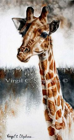 Standing Tall, print from the original oil painting of a giraffe from South Africa