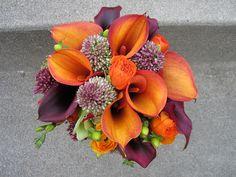 Orange and Purple Calla Lily Bqt. by simplystatedelegance, via Flickr