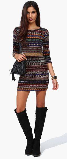 Flake Sweater Dress - MULTI