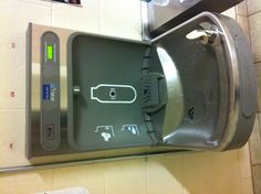 Water fountain and bottle refill shows how many plastic water bottles you saved by refilling here. Awesome!