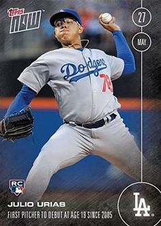 2016 Topps Julio Urias - 2016 Topps Now Card #102 Rookie Debut May 27, 2016 - Los Angeles Dodgers Rookie Phenom (RC) - First Topps Card -…