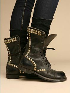 Faded black studded combat boots