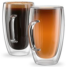 Anchor & Mill Set of 2 Large Double Walled Glass Coffee Cups 15 Ounce Sicilia Collection Tall Insulated Mugs for Espresso Latte Cappuccino Tea Box Set Clear Glass Coffee Mugs, Coffee Glasses, Tea Glasses, Espresso Latte, Double Espresso, Cappuccino Coffee, Insulated Mugs, Coffee Cup Set, Expresso