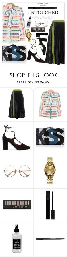 """""""Untitled #1721"""" by anarita11 ❤ liked on Polyvore featuring Christopher Kane, Gucci, Aquazzura, Rafé New York, Nixon, Forever 21, Little Barn Apothecary and Paper Mate"""