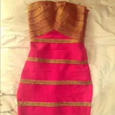 HOST PICKPink and gold body con dress ✨✨✨Gorgeous pink and gold body con dress  size small Dresses