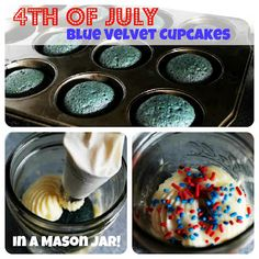 Mason Jar Blue Velvet Cupcakes Americana for the 4th of July! From @Mom Favorites Katie http://flaary.com/