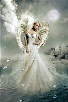 White Angel ༺ß༻ Angels Among Us, Angels And Demons, Fantasy Kunst, Fantasy Art, Angel Artwork, I Believe In Angels, Ange Demon, White Angel, Angel Pictures