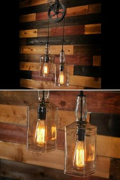 This Rustic Modern Farmhouse Lighting with Pulley Pendant Light and Whiskey Bottles is made with two recycled whiskey bottles, but can be made with any tw Modern Farmhouse Lighting, Lamp, Kitchen Lighting Design, Rustic Light Fixtures, Handmade Lighting, Vintage Industrial Lighting, Diy Outdoor Lighting, Pulley Lamps, Vintage Lighting