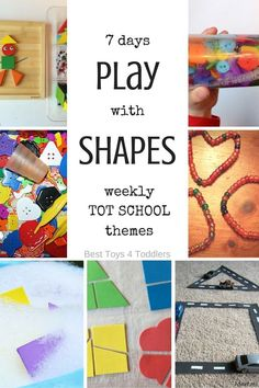 Best Toys 4 Toddlers - 7 days of play activities with shapes, printable planner for tot school