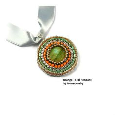 Orange Green Jewelry pendant necklace fashion jewelry modern jewelry silver pendant jewellery jewelry for women silver necklace MemetJewelry