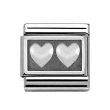 Nomination Oxidized- Double Heart Charm 330102-0 02