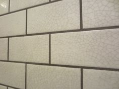 Gray Crackle Subway Tile | Close up of my favorite -- the crackled glaze tile with gray grout.