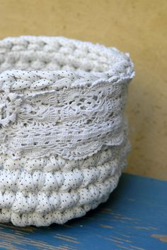 White Crocheted Bowl with vintage lace --- Eco Friendly Fabric Crocheted Basket --- tagt