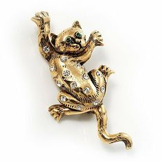 'Naughty Cat' Antique Gold Vintage Brooch Avalaya. $16.11. Occasion: mothers day, cocktail party, casual wear. Gemstone: diamante. Theme: animal, cat. Style: vintage. Metal Finish: antique gold