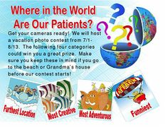 """Orthodontic Marketing Contest reminded young patients & parents about good oral hygiene, eating habits and """"appliance maintenance"""" while on summer vacation. Orthodontics Marketing, Dental Practice Management, Dental Health Month, Pediatrics, Dentistry, Office Ideas, Office Fun, Marketing Ideas, Teeth"""