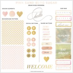 Brand New Blog Sugar Kit from  Dear Miss Modern! Pink Sand is now in the shop. Brighten your brand, darling. $50.00 #blog #web #brand #design