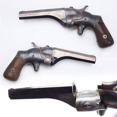 Hammond Bulldog. Made in Naubuc, CT, this single-shot and with its standard four-inch barrel was a little big to be called a derringer. While most of the nearly 8,000 examples made were in .44 caliber – there were also .22, .32 and .50 caliber ones built.