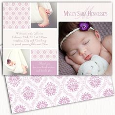 Photo Birth Announcement/Girl Baby by Digivites on Etsy