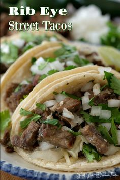 Rib Eye Street Tacos are loaded with diced up rib eye, white onions and cilantro then folded up in warm corn tortillas. Rib Eye Recipes, Steak Recipes, Cooking Recipes, Hamburger Recipes, Shrimp Recipes, Chicken Recipes, Leftover Steak, Vegetarian Tacos, Vegetarian Mexican
